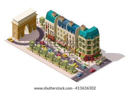 Vector isometric icon or infographic element representing Paris (France) street with cars,  old buildings, shops, restaurant and hotel near the Triumphal Arch - stock vector