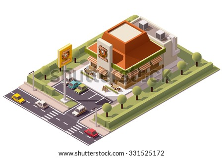 Vector Isometric icon or infographic element representing pizzeria building with advertising sign, parking lot, cars and street  - stock vector