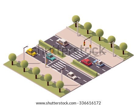 Vector Isometric icon or infographic element representing zebra crossing on the highway, road or street with cars and traffic lights - stock vector
