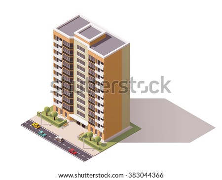 Vector isometric icon or infographic elements representing low poly town apartment building with street  and cars for city map creation - stock vector