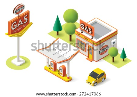 Vector isometric icon representing gas filling station with pumps, neon sign and car - stock vector