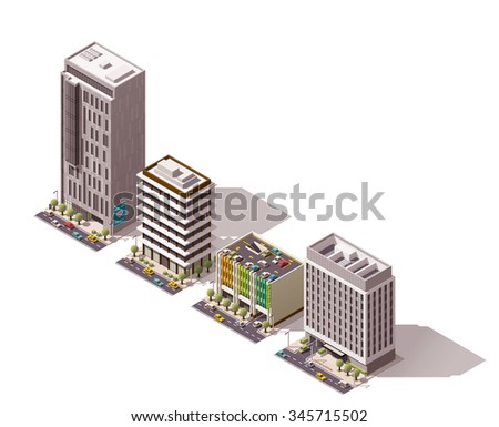 Vector isometric icon set or infographic element set representing city building, office, house, shop with street elements, road, cars and parking lot - stock vector