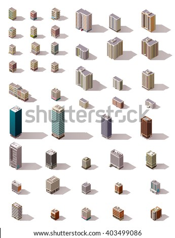 Vector isometric icon set or infographic elements of the low poly buildings, skyscrapers, houses, offices and stores for city or town map creation - stock vector