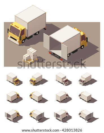 Vector Isometric icon set or infographic elements representing box truck with open and closed doors. Each vehicle in four views with different shadows. Low poly style - stock vector