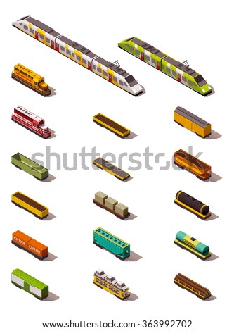 Vector isometric icon set or infographic elements representing different types of cargo railroad trains and cars  - stock vector
