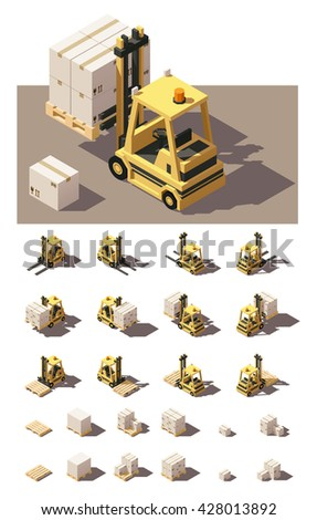Vector Isometric icon set or infographic elements representing forklift loading pallets with boxes. Included loaded and empty forklifts with different front and rear views. Low poly style - stock vector