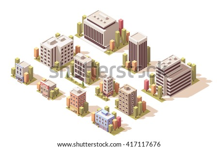Vector Isometric icon set or infographic elements representing low poly buildings, stores, and homes for city or town map creation - stock vector