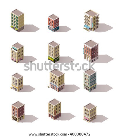Vector isometric icon set or infographic elements representing low poly town buildings with shops, stores, cafe, hotel, barbershop  - stock vector
