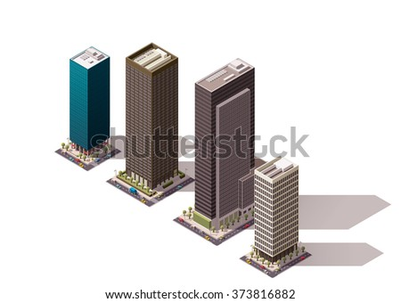 Vector Isometric icon set representing city building, skyscraper  icon with cars, tree and street elements - stock vector