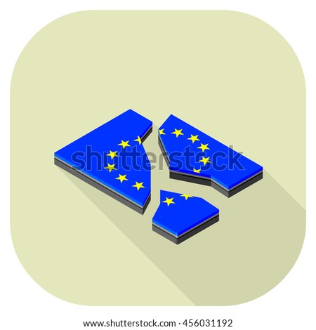 Vector isometric illustration of a European union flag that has split flat icon Broken European union flag isometric vector tile.
