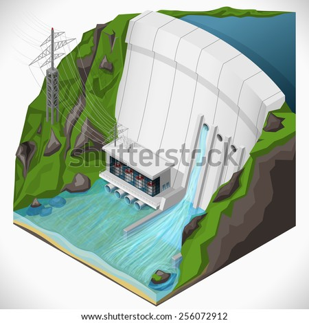 Vector isometric illustration of a hydroelectric power station. Extraction of energy from renewable sources. - stock vector