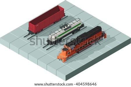 Vector isometric illustration of a rail way trains set consisting locomotive, isometric platform wagon, isometric oil cistern, and rail cars for bulk cargoes. Orange isometric train. Diesel train set - stock vector