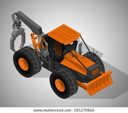 Vector isometric illustration of a skidder , heavy forestry vehicle for pulling cut trees out of a forest and transported from the cutting site to a landing. Equipment for forestry industry.