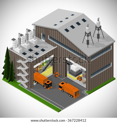 Vector isometric illustration of a waste processing plant. Saving the environment. - stock vector
