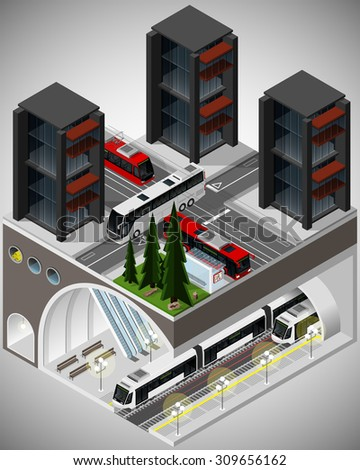Vector isometric illustration of an element of urban infrastructure consisting of a transport hub subway, tram and bus lines and bus station.