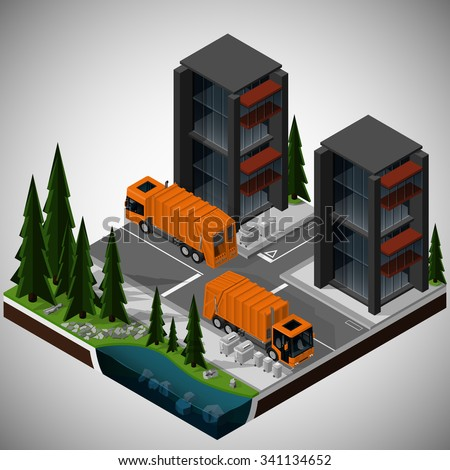 Vector isometric illustration of an element of urban infrastructure. Garbage trucks transports the trash. Front and rear view. Equipment for maintenance of urban infrastructure. - stock vector