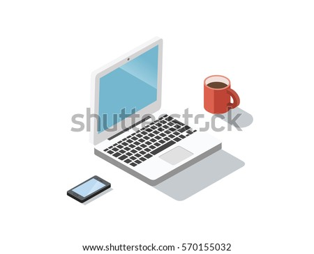 Vector Isometric illustration of coffee break during working day concept. Laptop, smartphone, coffee cup. 3d flat working icon