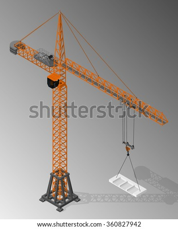 Vector isometric illustration of tower crane. Equipment for the construction industry. - stock vector