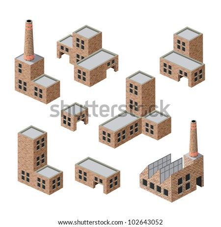 Vector isometric images of industrial buildings of brick - stock vector