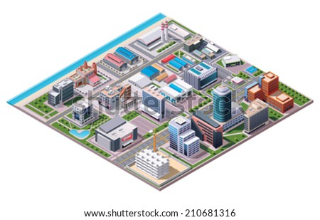 Vector Isometric industrial and business city district map with factories and offices - stock vector