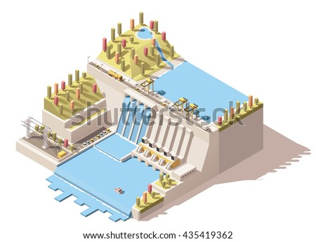 Vector Isometric infographic element or icon representing hydroelectric power station with dam on the river, water reservoir, power lines and flowing water from turbines - stock vector