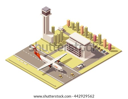 Vector Isometric infographic element or icon representing low poly airport terminal with traffic control tower, landing propeller airplane, ground support vehicles