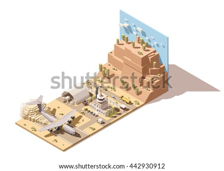 Vector Isometric infographic element or icon representing low poly desert airport terminal, jet airplane landing on dusty runway, ground support vehicles and airport traffic control tower - stock vector