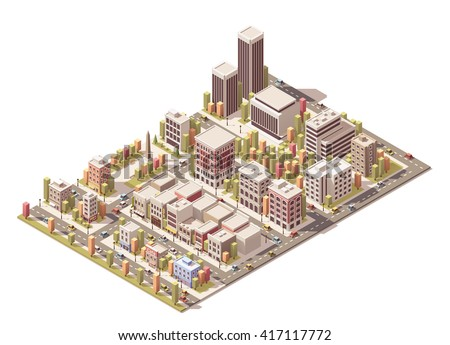 Vector Isometric infographic element representing city streets with different buildings, houses, shops and skyscrapers - stock vector