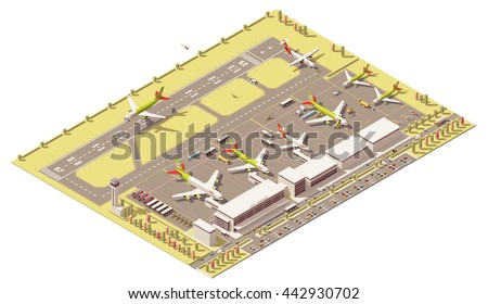 Vector Isometric infographic element representing low poly airport terminal with airport traffic control tower, landing jet airplane, ground support vehicles working at apron near the airplanes - stock vector