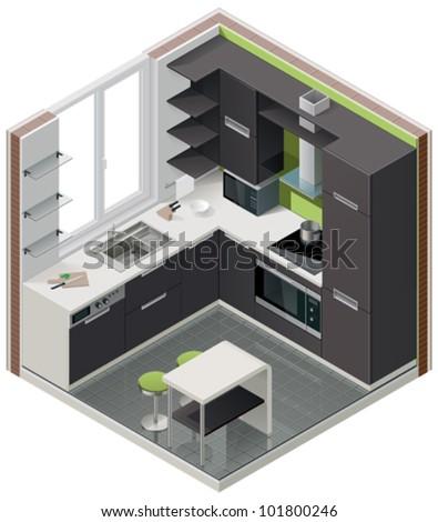 Vector isometric kitchen icon - stock vector