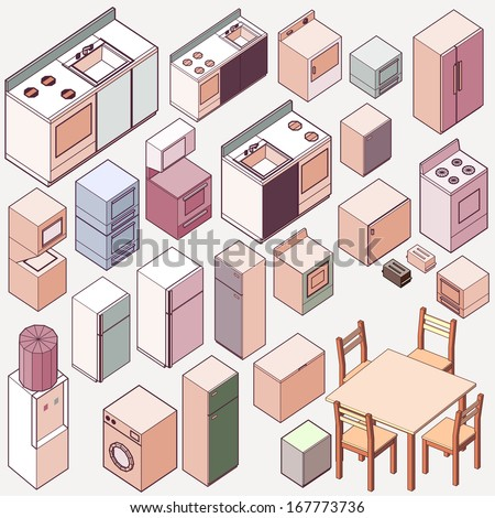 Vector isometric kitchen icon set. make kitchen interior with custom furniture and home appliance set - stock vector