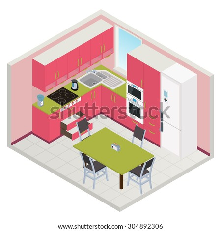 Vector isometric kitchen pink color interior - 3D illustration - stock vector