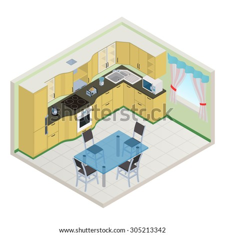 Vector isometric kitchen yellow color interior - 3D illustration