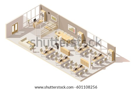 office floor plan design. vector isometric low poly office floor plan design