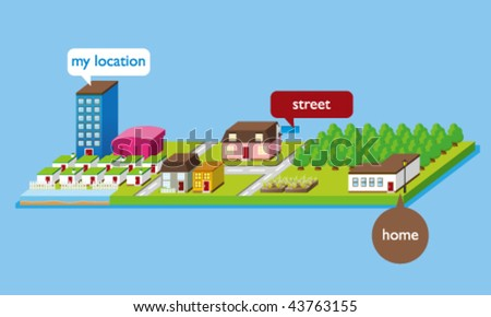 Vector Isometric Map -- 3D Illustration - stock vector