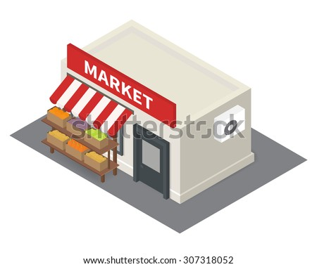 Vector isometric market stalls with vegetables. Flat building icon - stock vector