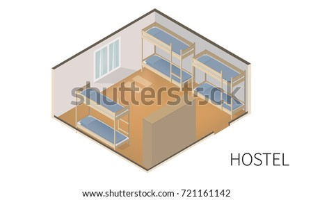 Vector Isometric model of hostel room illustration. Interior isometric design. Cheap hotel icon.