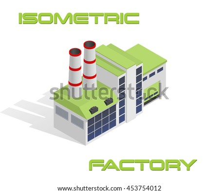 Vector isometric modern industrial and manufacturing factory building icon - stock vector