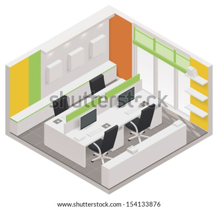 Vector isometric office room icon - stock vector
