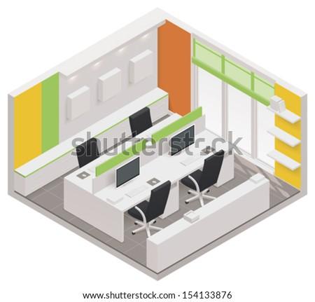 Vector isometric office room icon - stock vector
