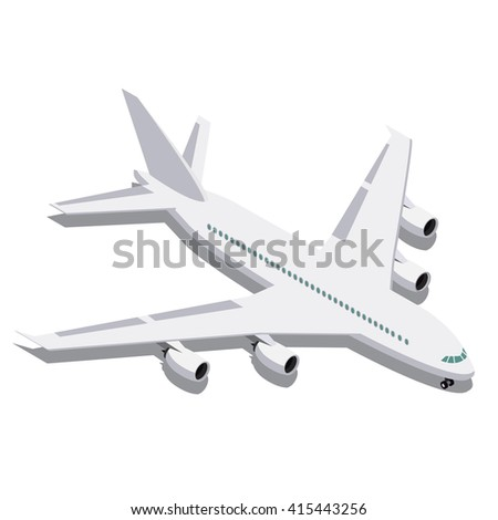 Vector isometric passenger airplane.  Passenger Airliner.delivery of people by air - stock vector