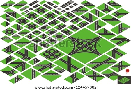 Vector isometric road map elements - stock vector