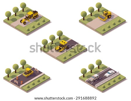 Vector isometric road surface making technology - stock vector