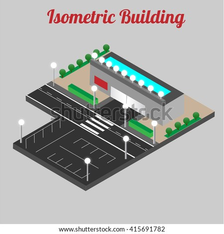 Vector isometric shopping mall building icon. Store 3d model. Vector illustration - stock vector