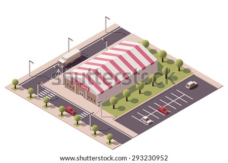 Vector isometric shopping sale tent store icon - stock vector
