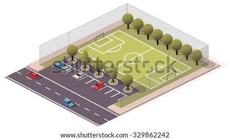 Vector Isometric Soccer/Football Pitch - stock vector