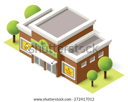 Vector isometric supermarket building icon - stock vector