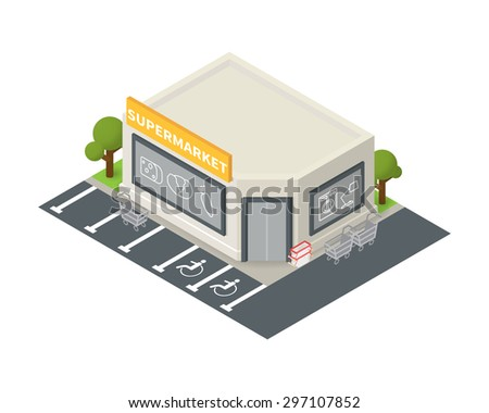 Vector isometric supermarket store building. Shopping icon - stock vector