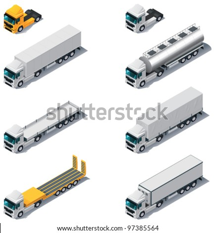 Vector isometric transport. Trucks with semi-trailers - stock vector