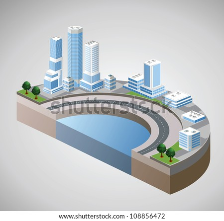 Vector isometric view of the harbor and skyscrapers - stock vector